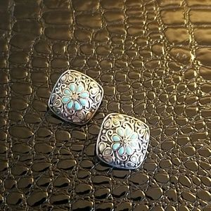 Jewelry - Sterling Silver and Turquois Clip Earrings